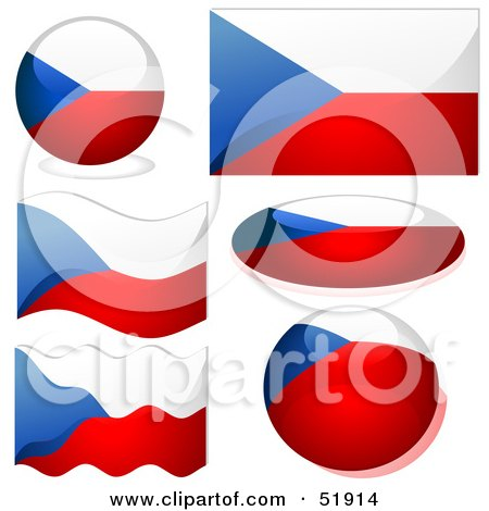 Royalty-Free (RF) Clipart Illustration of a Digital Collage of Czech Republic Flag Icons by dero
