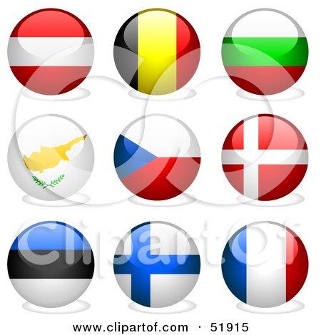 Royalty-Free (RF) Clipart Illustration of a Digital Collage of Round Flag Buttons; Austria, Belgium, Bulgaria, Cyprus, Czech Republic, Denmark, Estonia, Finland, France by dero