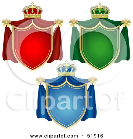 Royalty-Free (RF) Clipart Illustration of a Digital Collage of Three Coat of Arms Banners by dero