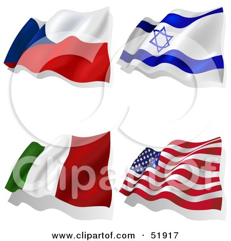 Royalty-Free (RF) Clipart Illustration of a Digital Collage of Wavy Flags; Czech, Israel, Italy, America by dero