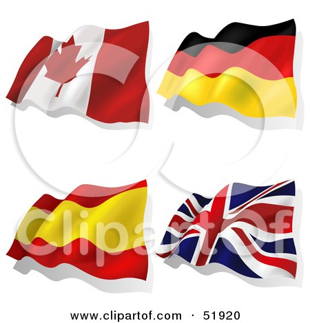 Royalty-Free (RF) Clipart Illustration of a Digital Collage of Wavy Flags; Canada, Germany, Spain, United Kingdom by dero