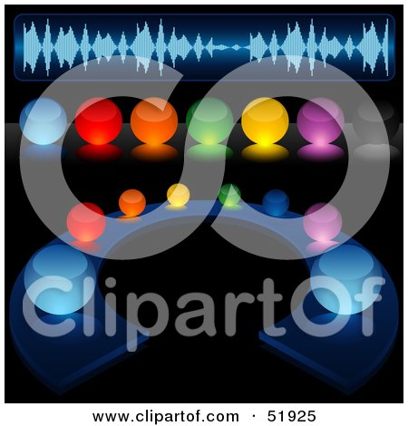 Royalty-Free (RF) Clipart Illustration of a Digital Collage of Colorful Illuminated Sound Buttons by dero