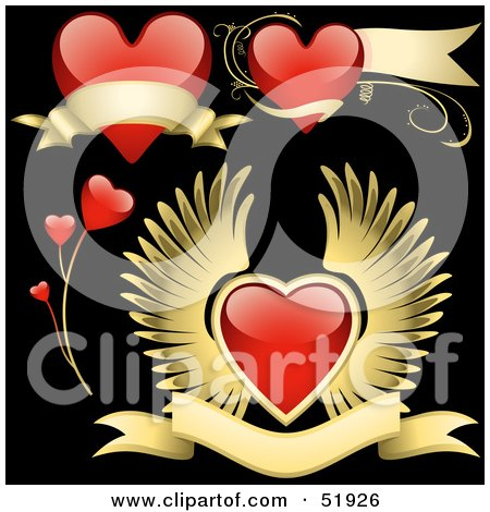 Royalty-Free (RF) Clipart Illustration of a Digital Collage Of Red Love Heart Elements - Version 7 by dero