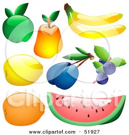 Royalty-Free (RF) Clipart Illustration of a Digital Collage of Shiny Fruit; Apple, Pear, Banana, Lemon, Plum, Blueberries, Orange, Watermelon by dero
