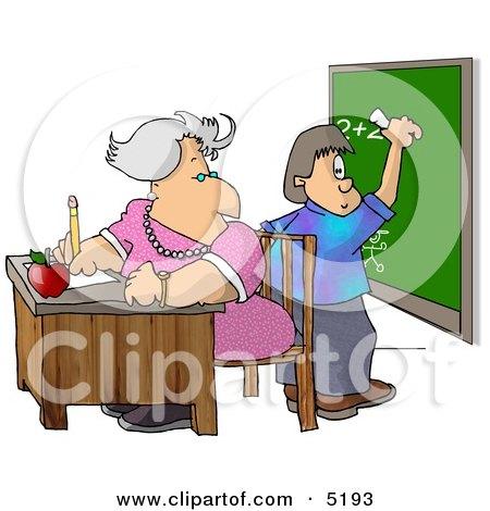 Female Math Teacher Watching Student Write a Math Equation On a Chalkboard Clipart by djart