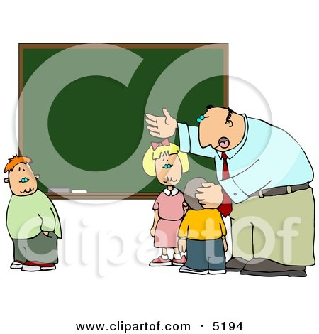 Elementary Male School Teacher Explaining to Students In Front of a Chalkboard Clipart by djart