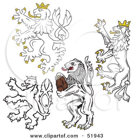 Royalty-Free (RF) Clipart Illustration of a Digital Collage Of Heraldic Lion Elements - Version 1 by dero