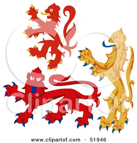 Royalty-Free (RF) Clipart Illustration of a Digital Collage Of Heraldic Lion Elements - Version 5 by dero
