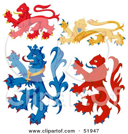 Royalty-Free (RF) Clipart Illustration of a Digital Collage Of Heraldic Lion Elements - Version 4 by dero