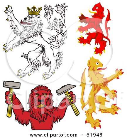 Royalty-Free (RF) Clipart Illustration of a Digital Collage Of Heraldic Lion Elements - Version 3 by dero