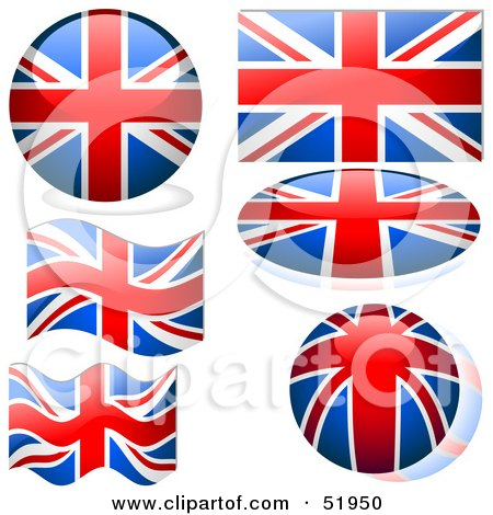 Royalty-Free (RF) Clipart Illustration of a Digital Collage of United Kingdom Flag Icons by dero
