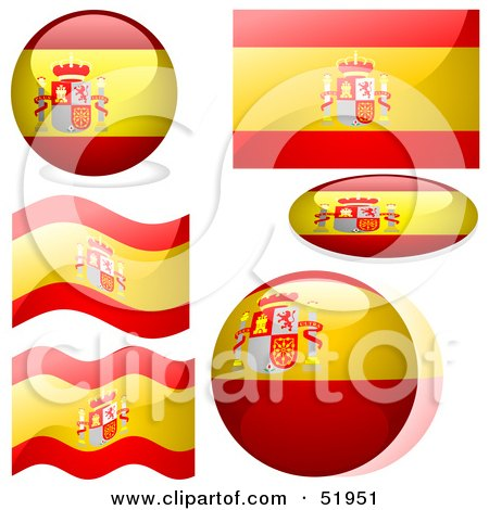 Royalty-Free (RF) Clipart Illustration of a Digital Collage of Spain Flag Icons by dero