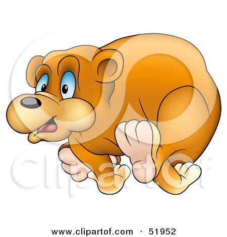 Royalty-Free (RF) Clipart Illustration of a Cute Running Bear by dero