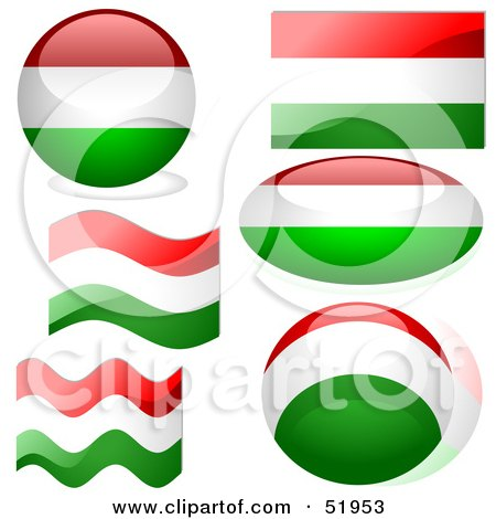 Royalty-Free (RF) Clipart Illustration of a Digital Collage of Hungary Flag Icons by dero