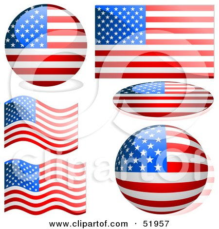 Royalty-Free (RF) Clipart Illustration of a Digital Collage of American Flag Icons by dero