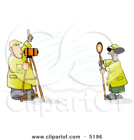 Male & Female Surveyors at Work with Leveling Instruments Clipart by djart