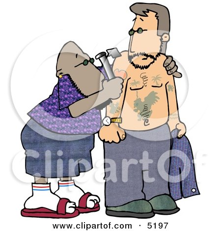 Ethnic Tattooer Applying a Permanent Decorative Tattoo to a Man's Upper Arm with a Tattoo Gun Clipart by djart