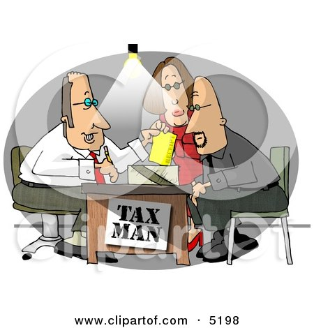 Husband and Wife Getting Taxes Done by Their Professional Accountant Clipart by djart