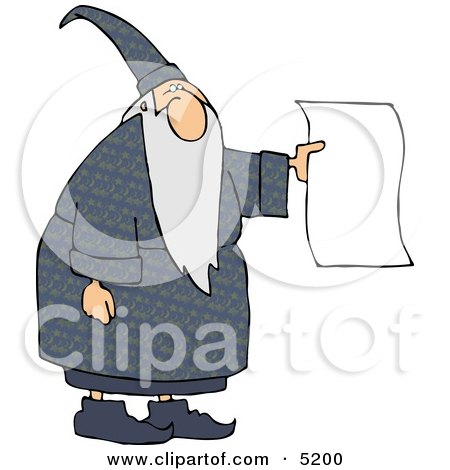Wizard Holding a Blank Paper - Royalty-free Wizard Clipart Illustration by djart