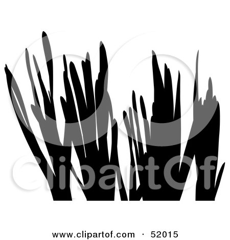 Royalty-Free (RF) Clipart Illustration of a Digital Collage of A Black Grass Silhouette - Version 2 by dero