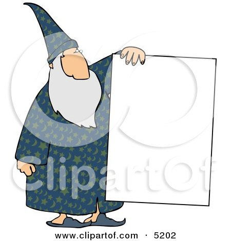 Old Wizard Holding a Blank Poster Board Sign Clipart by djart