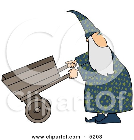 Wizard Pushing an Empty Wheelbarrow While Looking Over His Shoulder Clipart by djart