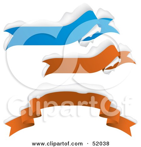 Royalty-Free (RF) Clipart Illustration of a Digital Collage Of Blue And Red Snow Flocked Banners by dero