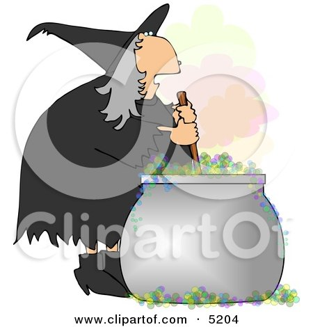 Wicked Witch Stirring a Magical Potion in a Cauldron with a Wooden Spoon Clipart by djart