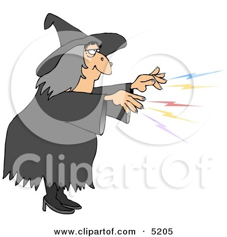 Clipart Wicked Halloween Witch Dancing With A Wand And Broom ...