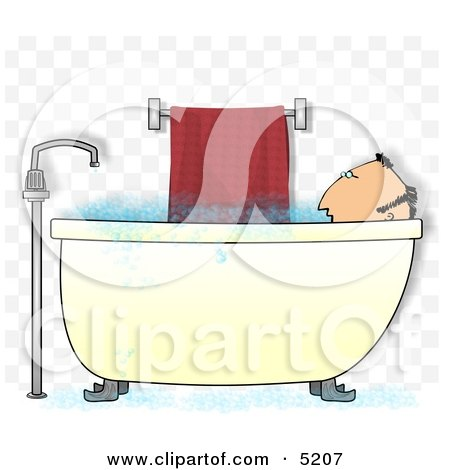 Middle-aged Man Taking a Bubble Bath Clipart Illustration by djart