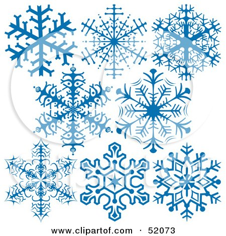 Royalty-Free (RF) Clipart Illustration of a Digital Collage Of Intricate Blue Snowflakes - Version 1 by dero