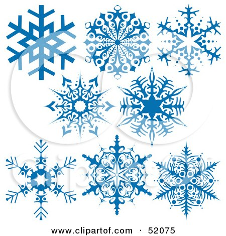 Royalty-Free (RF) Clipart Illustration of a Digital Collage Of Intricate Blue Snowflakes - Version 2 by dero