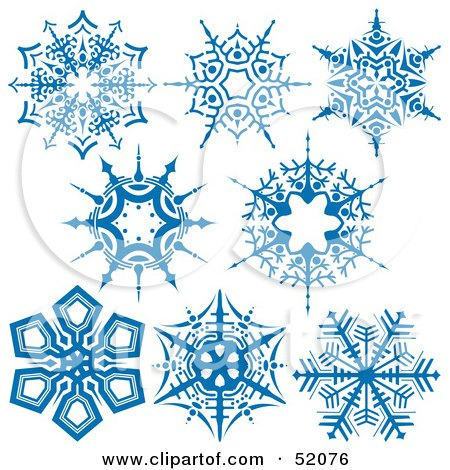 Royalty-Free (RF) Clipart Illustration of a Digital Collage Of Intricate Blue Snowflakes - Version 3 by dero