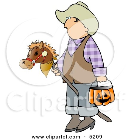 Boy Wearing Cowboy Halloween Costume with Stick Pony and Candy Bucket Clipart by djart