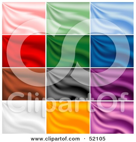 Royalty-Free (RF) Clipart Illustration of a Digital Collage Of Rippling Silk Backgrounds; Pink, Green, Blue, Red, Brown, Gray, Purple, White And Orange by dero