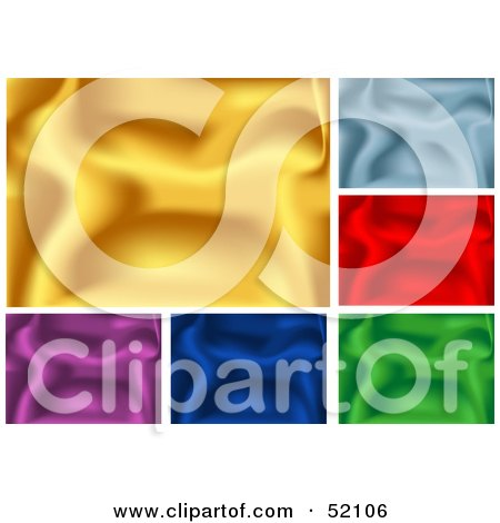 Royalty-Free (RF) Clipart Illustration of a Digital Collage Of Rippling Silk Backgrounds; Gold, Blue, Red, Green and Purple by dero