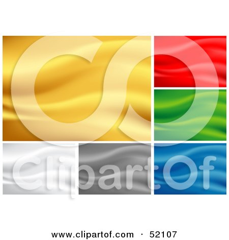 Royalty-Free (RF) Clipart Illustration of a Digital Collage Of Rippling Silk Backgrounds; Yellow, Red, Green, White, Gray And Blue by dero