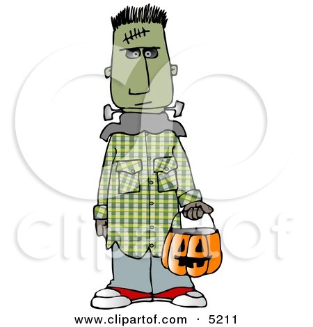 Boy Wearing Halloween Frankenstein Monster Costume While Trick-or-treating with Candy Bucket Clipart by djart