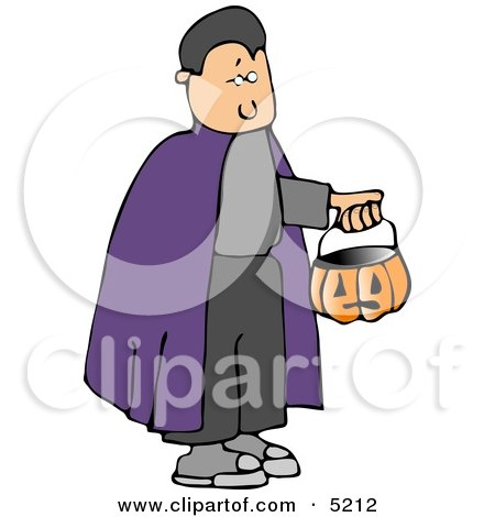 Boy Wearing Halloween Vampire Costume and Trick-or-treating with a Pumpkin Candy Bucket Clipart by djart