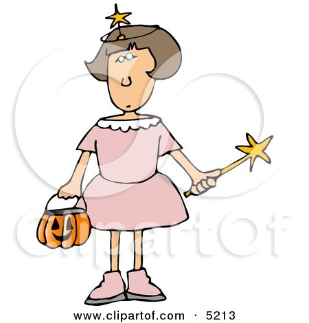 Girl Wearing Halloween Fairy Godmother Costume While Trick-or-treating Clipart by djart