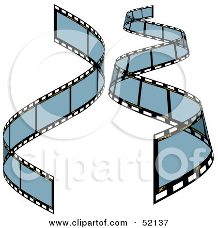 Royalty-Free (RF) Clipart Illustration of a Digital Collage of Blue Film Strips - Version 2 by dero