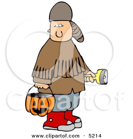 Boy Wearing Halloween Davy Crockett Costume While Trick-or-treating Clipart by djart