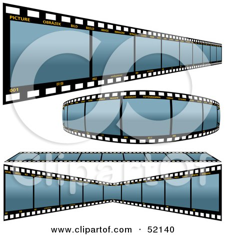 Royalty-Free (RF) Clipart Illustration of a Digital Collage of Blue Film Strips - Version 1 by dero