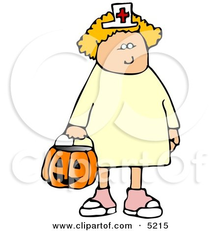 White Girl Wearing Halloween Nurse Costume While Trick-or-treating Clipart by djart