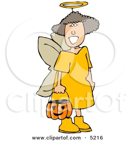 Girl Wearing Halloween Angel Costume While Trick-or-treating Clipart by djart