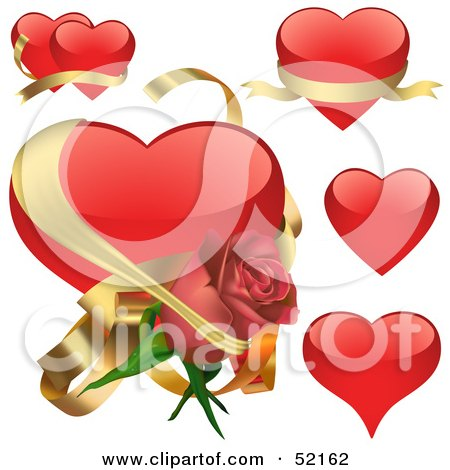 Royalty-Free (RF) Clipart Illustration of a Digital Collage Of Red Love Heart Elements - Version 5 by dero