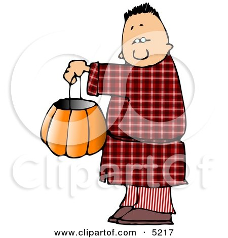 Boy Wearing Halloween Pajamas Costume While Trick-or-treating Clipart by djart