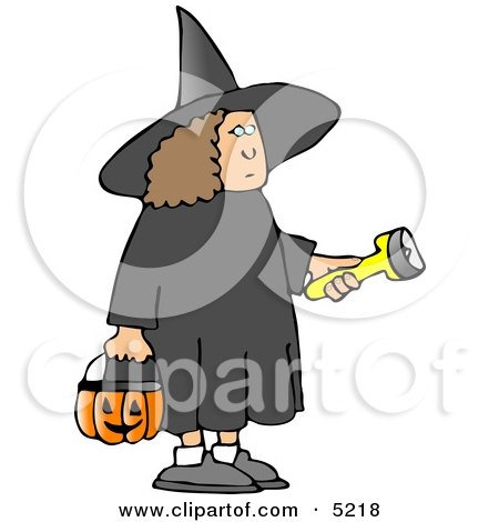 Girl Wearing Halloween Witch Costume While Trick-or-treating with a Candy Bucket and Flashlight Clipart by djart