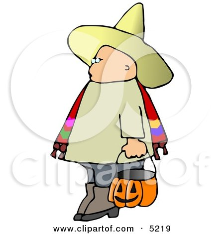 Boy Wearing Halloween Sombrero Costume While Trick-or-treating Clipart by djart