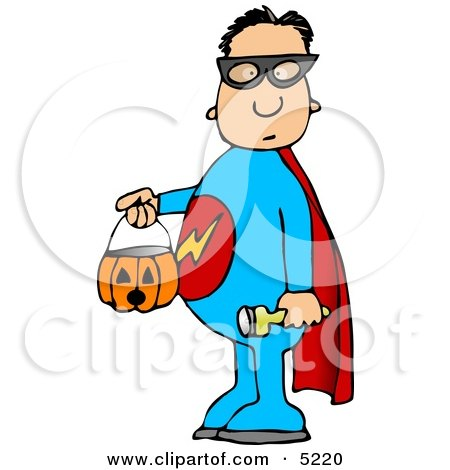 Boy Wearing Halloween Superhero Costume While Trick-or-treating Clipart by djart